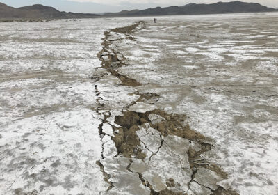 An earthquake fault line in the Southern California desert