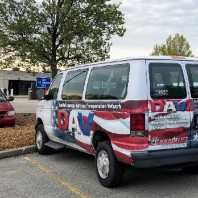 A DAV van parked outside a Veterans Affairs medical center