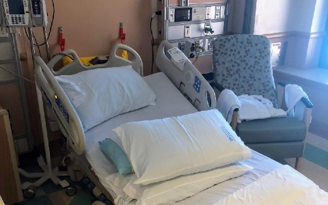 A hospital bed at a Veterans Affairs medical center