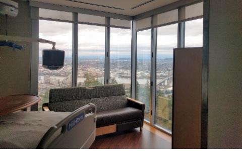 A hospital room at a Veterans Affairs medical center